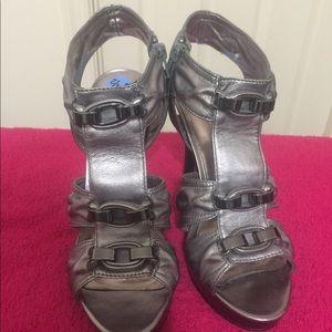 Calvin Klein-pewter platform sandal (7 1/2 medium)
